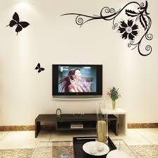 livingroom tv black butterfly flying flower vine wall stickers paper poster art