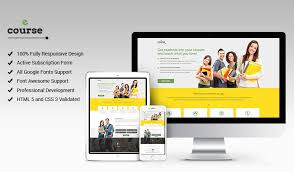 responsive html5 e course landing page design template to get the
