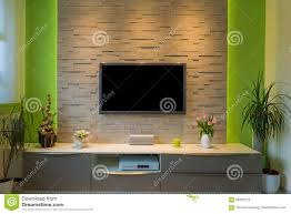 modern living room interior tv mounted on brick wall with black