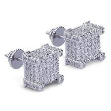 back earrings for men hip hop iced out big square flat screen block back