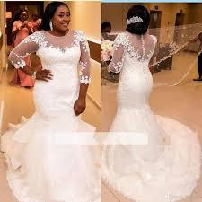 dh wedding dresses lace appliques scoop mermaid wedding dresses sheer half