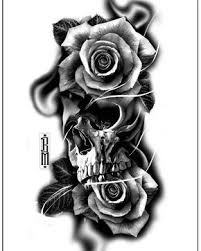 skull roses design digital blackandgrey bg