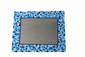 Teal Blue Home Decor Large Blue Mosaic Wall Mirror Blue Home Decor Mosaic Mirror