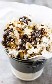 german chocolate popcorn a snack for choctoberfest