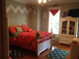 Bedroom Decorating Ideas Teal And Brown Love My Daughters New Bedroom Chevron Coral Teal Girls Bedroom