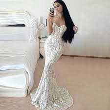 mermaid style wedding dresses mermaid style sweetheart sweep white lace prom dress