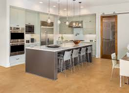 flooring extraordinary cork flooring reviews for your home design stunning cork flooring reviews for kitchen design with grey kitchen island and bar stools plus pendant