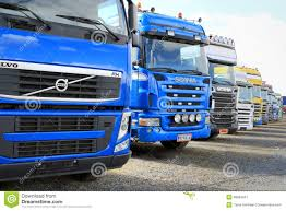 2014 volvo truck tractor row of colorful truck tractors editorial photo image 48663641