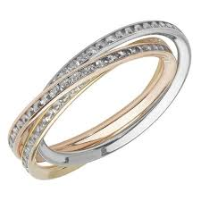 russian wedding rings three colour gold cubic zirconia russian wedding ring