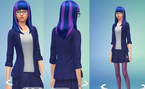 sims 4 blue hair sims 4 twilight sparkle hair modification v 1 by mrcinematograph on