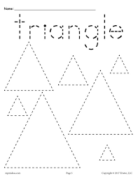 free triangles tracing worksheet tracing shapes worksheets
