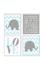 Baby Boy Nursery Art Chevron Elephant Nursery Decor Giraffe