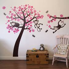monkey blossom tree wall stickers by parkins interiors tree monkies and butterflies in brown birds and blossom in pink and magenta