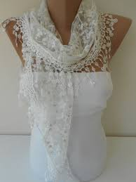 white scarf shawl cowl scarf with lace edge women holiday fashion