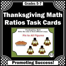 thanksgiving math centers 6th grade ratios task cards thanksgiving