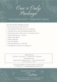 Wedding Packages Prices Wedding Packages Donington Manor Hotel