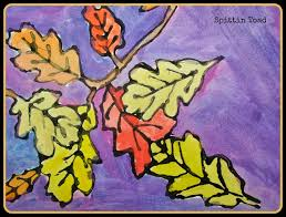 spittin toad kids art autumn leaves with watercolors and glue