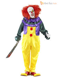 mens killer clown jester costume mask halloween circus evil