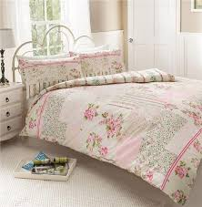 Patchwork Duvet Covers New Pink Vintage Rose Patchwork Duvet Set Double Quilt Cover Bed