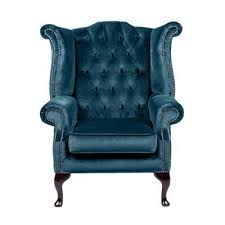 Tesco Armchairs Buy Snug City Queenanne Chair Crushed Velvet Blue Chesterfield