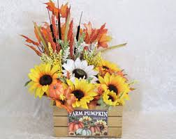 Fall Floral Decorations - fall silk flower arrangement in a wood box autumn home decor