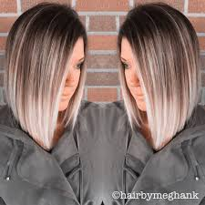 brown and blonde ombre with a line hair cut a line bob lob ombré hair medium length hairstyles to
