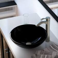 Faucet Direct Return Policy Mr Direct 601 Black Dark Colored Glass Vessel Sink With Brushed