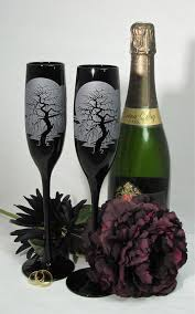 wedding glasses black chagne flutes wedding glasses with spooky