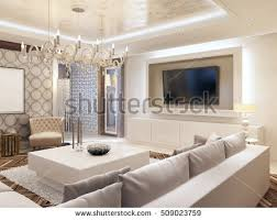 Corner Sofa In Living Room - modern living room white colors integrated stock illustration