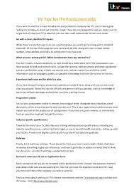 cv tips cv tips for itv production