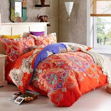 Indian Print Duvet Orange Red And Royal Blue Western Tribal Print Luxury Paisley And