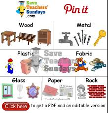 materials and examples of objects that are made from them go to