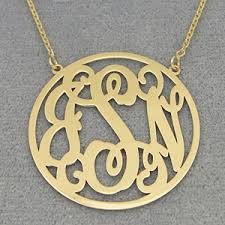 monogram necklace gold gold 3 initials circle monogram necklace 1 1 4 inch diameter