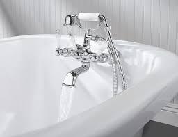 bathroom elegant chrome 3 handle clawfoot tub faucet with fancy