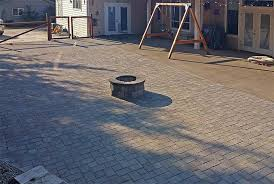 Backyard Concrete Slab Paver Patio Extension In Boston Harbor Ajb Landscaping U0026 Fence
