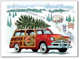 retro christmas cards woodie wagon christmas cards package of 8 retro christmas cards