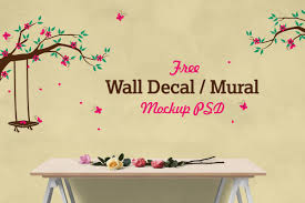 free vinyl wall decal mural sticker art mockup psd