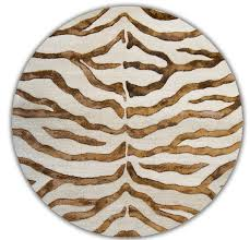 Brown Round Rugs by Zebra Print With Faux Silk Highlights Rug From Earth By Nuloom