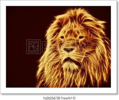 lion print free art print of abstract artistic lion portrait fire flames