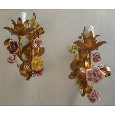 Flower Wall Sconces Pair Of Antique Italian Gilded Tole Porcelain Flowers Wall Sconces