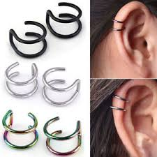hoop earrings for cartilage steel clip on closure ring hoop earrings cartilage ear cuff
