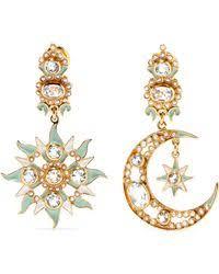 percossi papi earrings percossi papi diego sun and moon goldplated multistone earrings in