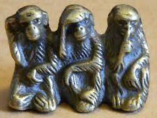 collectable antique brass three wise monkeys see hear speak no