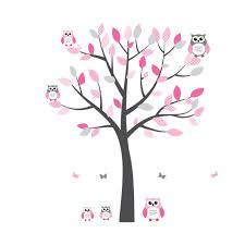 pink and grey owl decal with tree decals for nursery for girls pink and grey owl art for kids with tree wall sticker for girls rooms