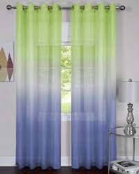 Ombre Sheer Curtains Green Blue Rainbow Ombre Printed Grommet Sheer Curtain Panel
