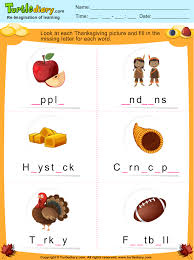 thanksgiving fill in the missing letter worksheet turtle diary