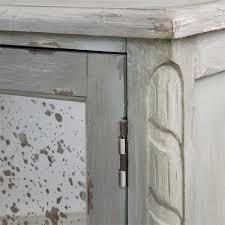 bellport coastal beach grey antique mirror console media cabinet