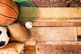 unique wood sports background equipment on unique wooden boards background