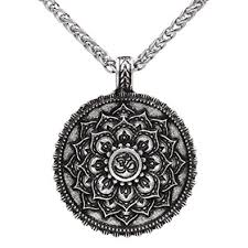 antique silver necklace pendant images Vintage antique silver om buddhist mandala pendant necklace lotus jpg