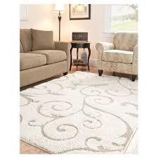 Brown And White Area Rug 3 3 X 5 3 Shag Area Rug In Beige White With Scrolling Floral